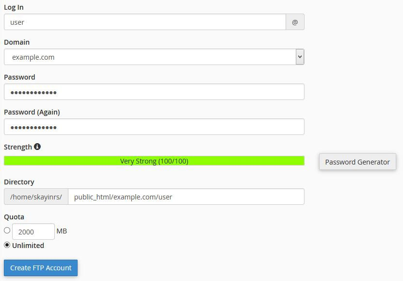 Add FTP account in cPanel